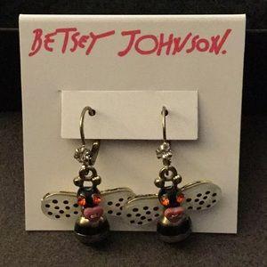 NWT Betsey Johnson Bumblebee Dangling Earrings